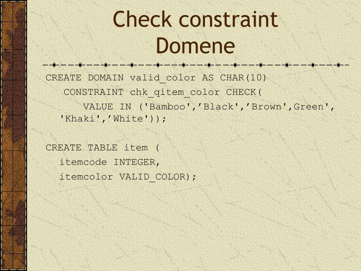 Check constraint