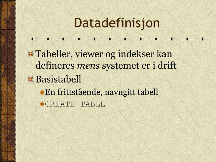 Datadefinisjon