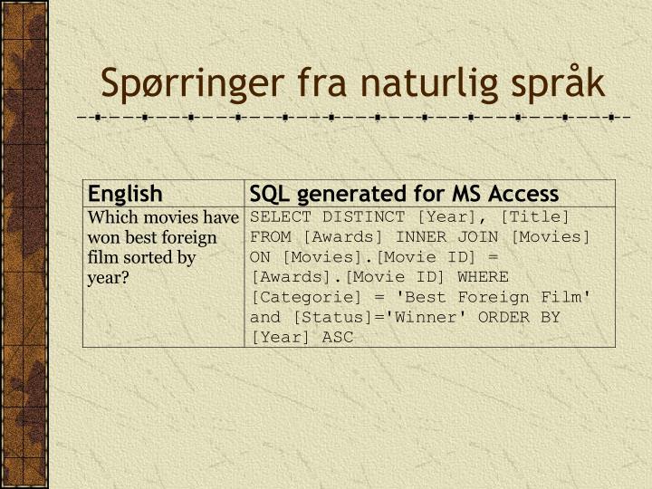 Spørringer fra naturlig språk