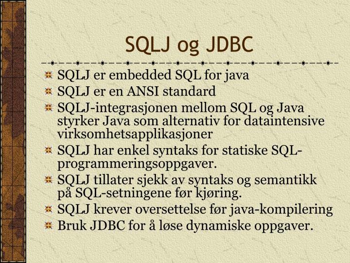 SQLJ og JDBC