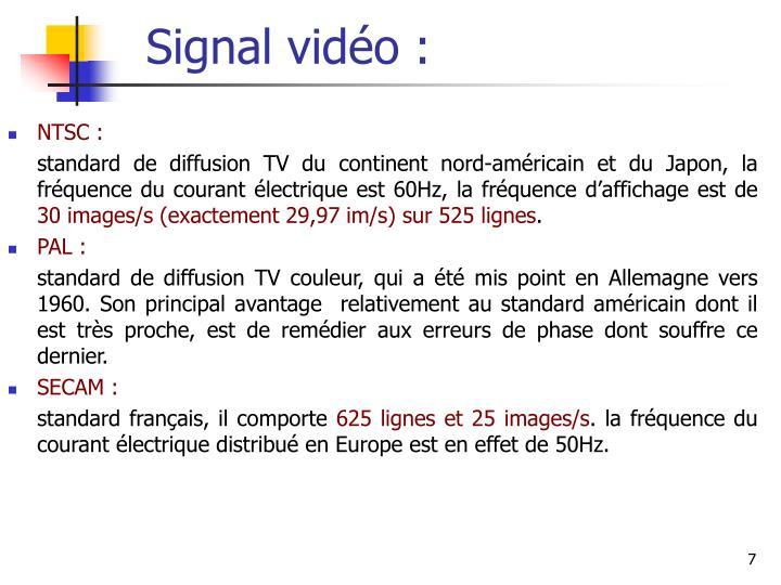 Signal vidéo :