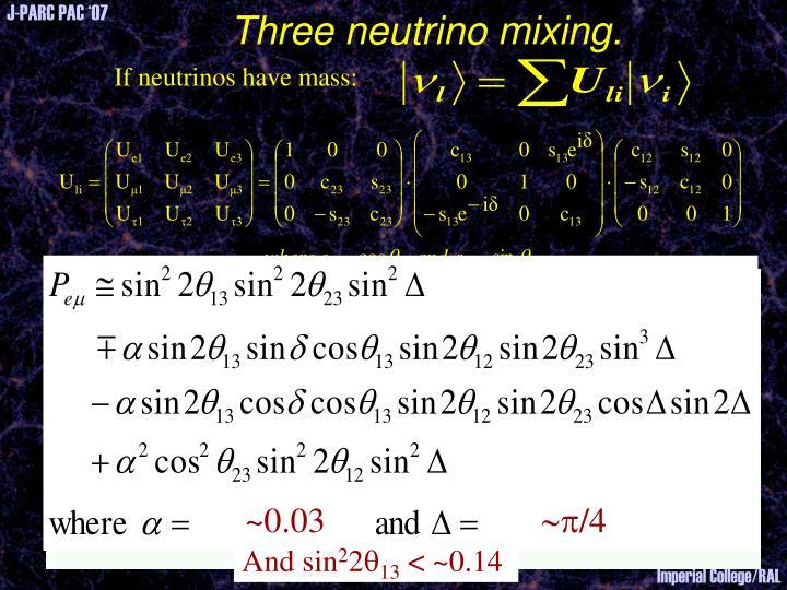 Three neutrino mixing.
