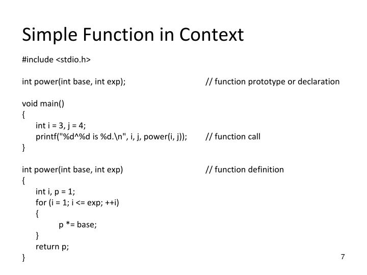 Simple Function in Context