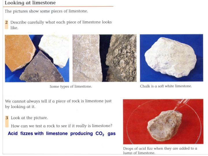 Acid  fizzes with  limestone  producing  CO