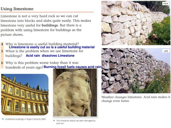 Limestone is easily cut so is a useful building material
