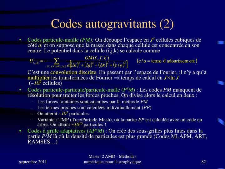 Codes autogravitants (2)