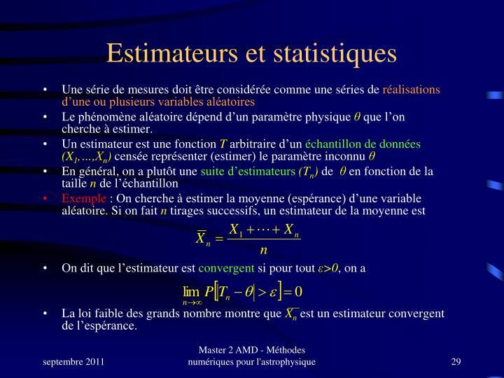 Estimateurs et statistiques