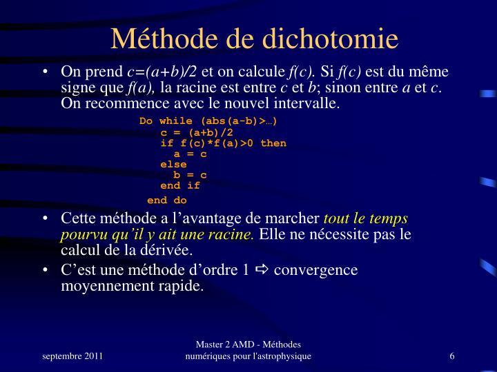 Méthode de dichotomie