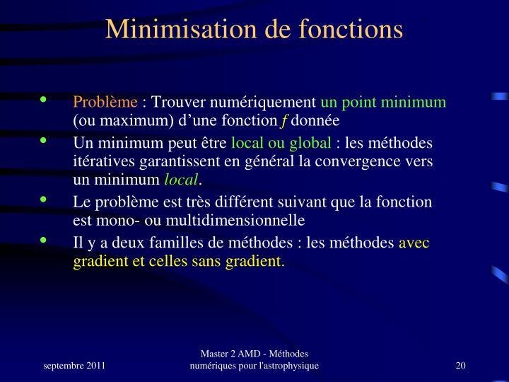 Minimisation de fonctions