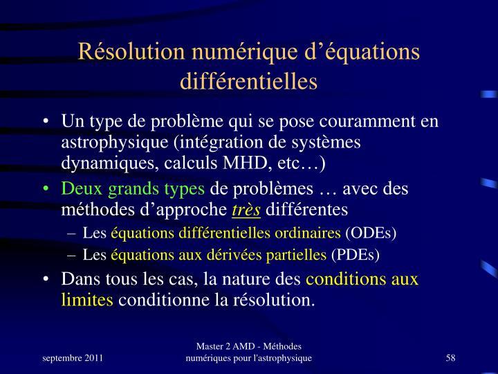 Résolution numérique d'équations différentielles