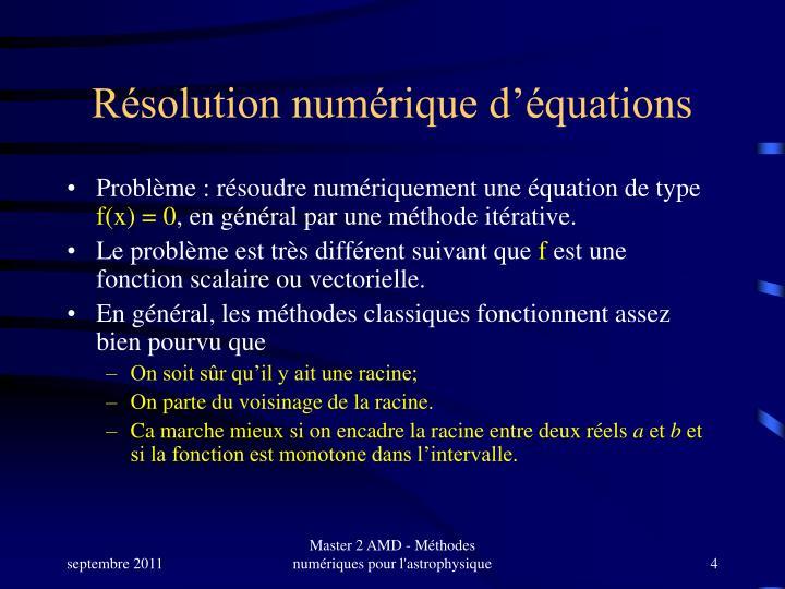 Résolution numérique d'équations