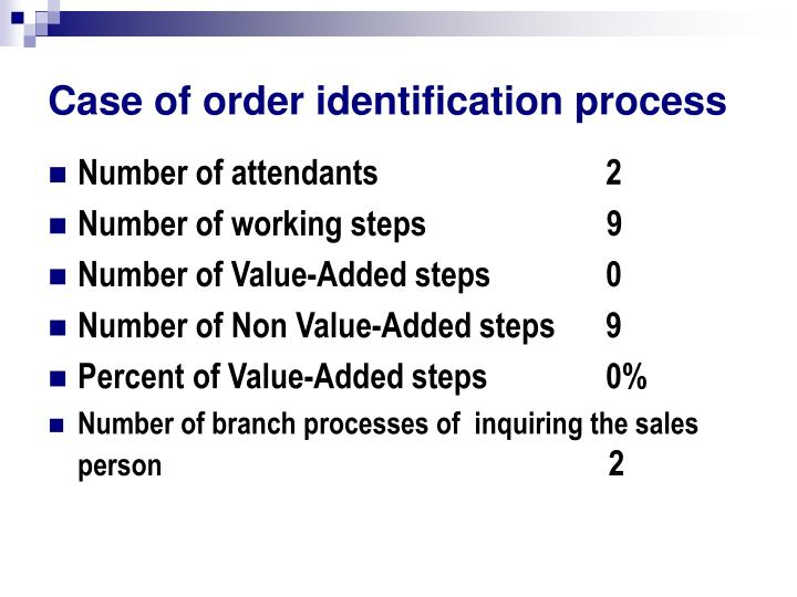 Case of order identification process