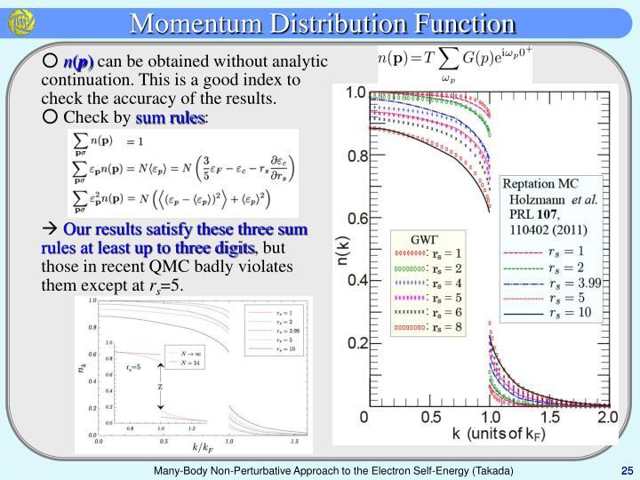 Momentum Distribution Function