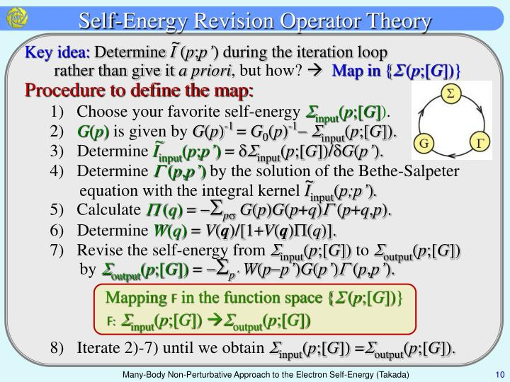 Self-Energy Revision Operator Theory