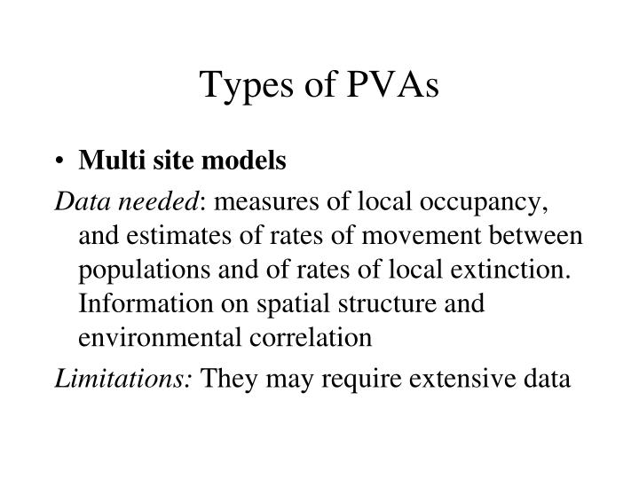Types of PVAs