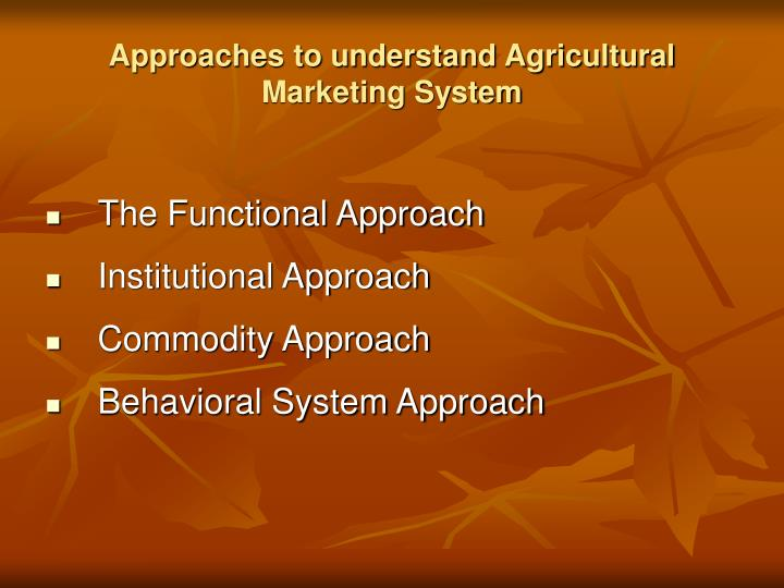 Approaches to understand Agricultural Marketing System