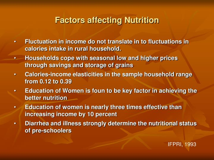 Factors affecting Nutrition