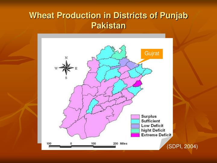 Wheat production in districts of punjab pakistan
