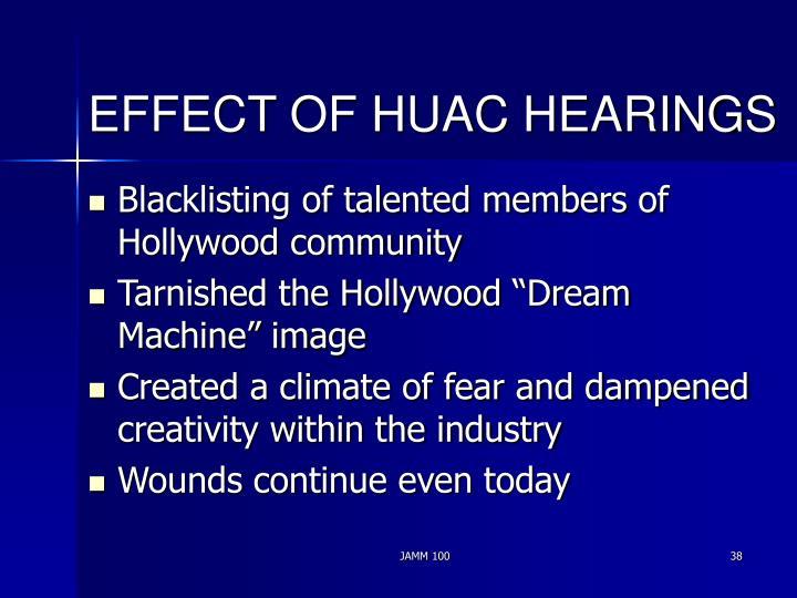 EFFECT OF HUAC HEARINGS
