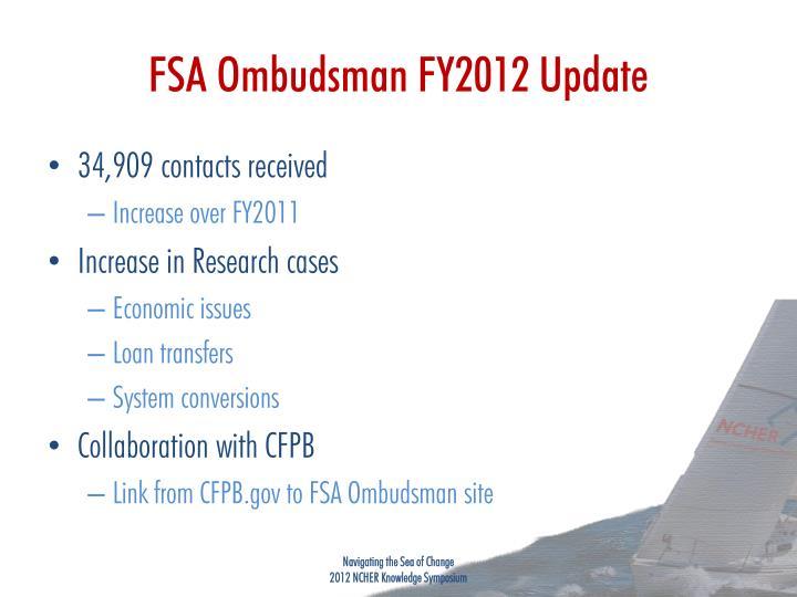 Fsa ombudsman fy2012 update