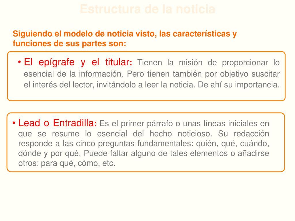 Ppt Características Y Estructura De La Noticia Powerpoint