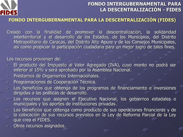 FONDO INTERGUBERNAMENTAL PARA