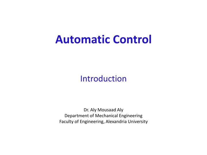 automatic control introduction n.
