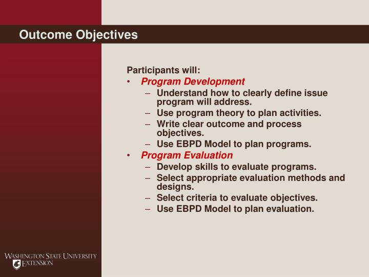 Outcome Objectives