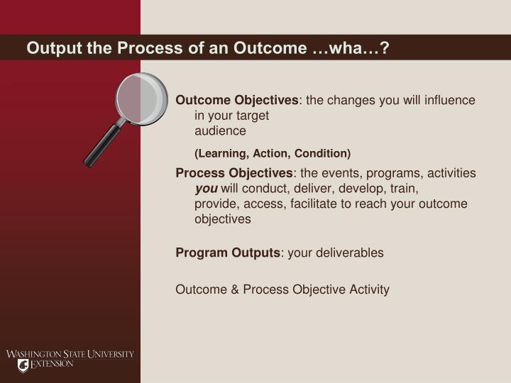 Output the Process of an Outcome …wha…?