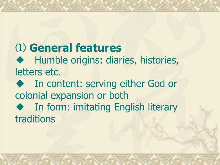 ⑴ General features
