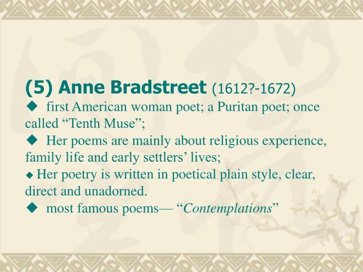 (5) Anne Bradstreet