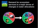 demand for ecosystem services is a major driver of changes in water allocations