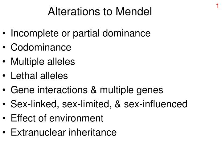 alterations to mendel n.