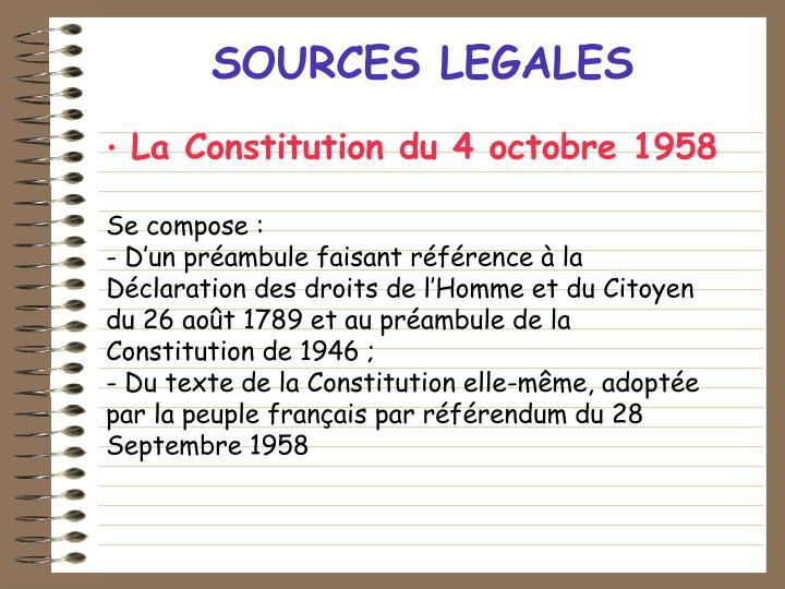 SOURCES LEGALES