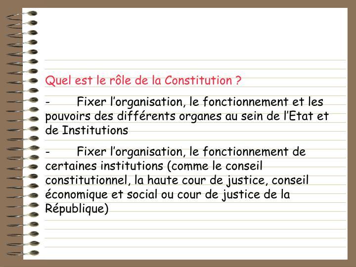 Quel est le rôle de la Constitution ?