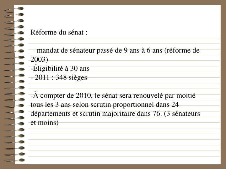 Réforme du sénat :
