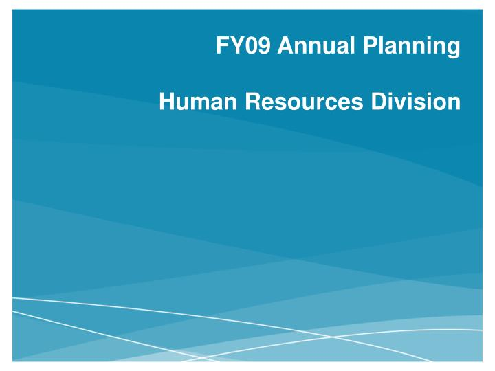 fy09 annual planning human resources division n.