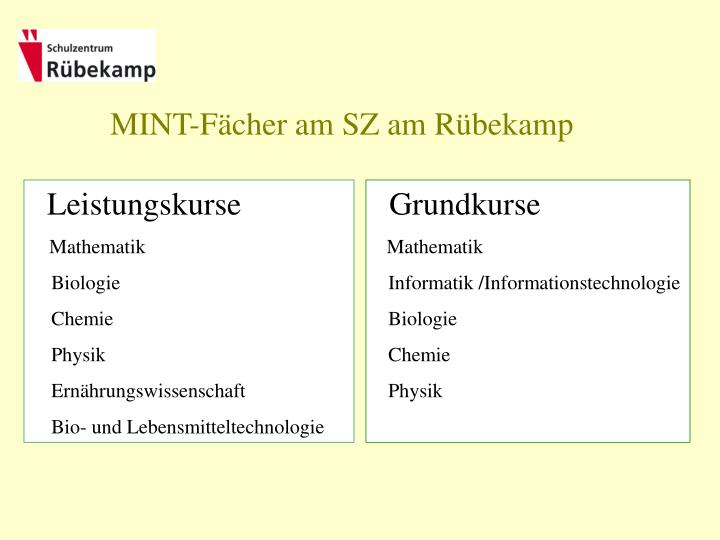 MINT-Fächer am SZ am Rübekamp