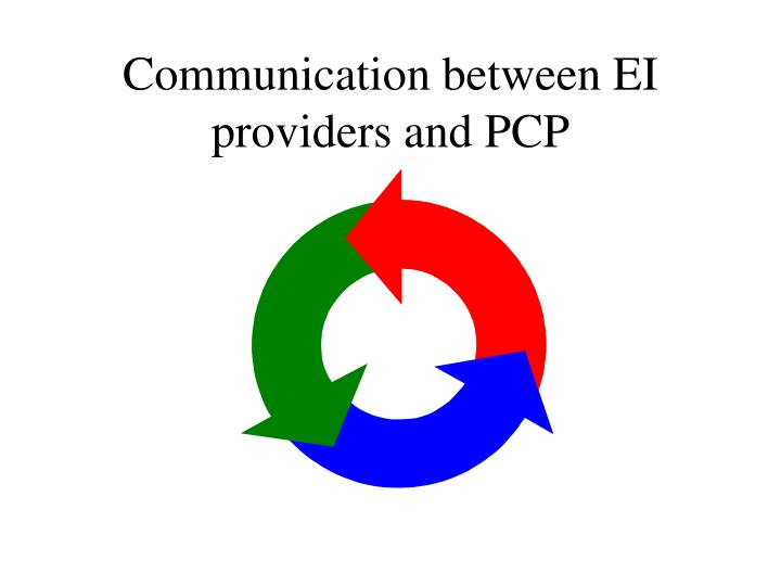 Communication between EI providers and PCP