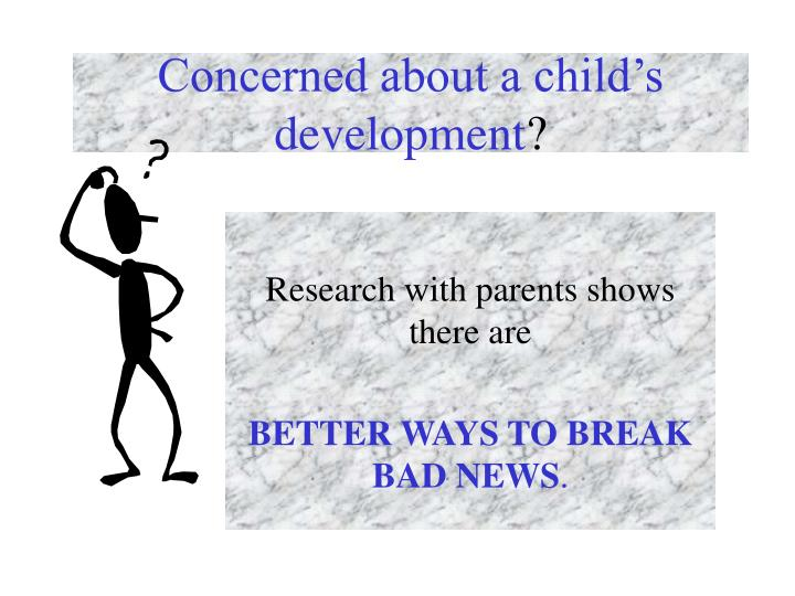 Concerned about a child's development