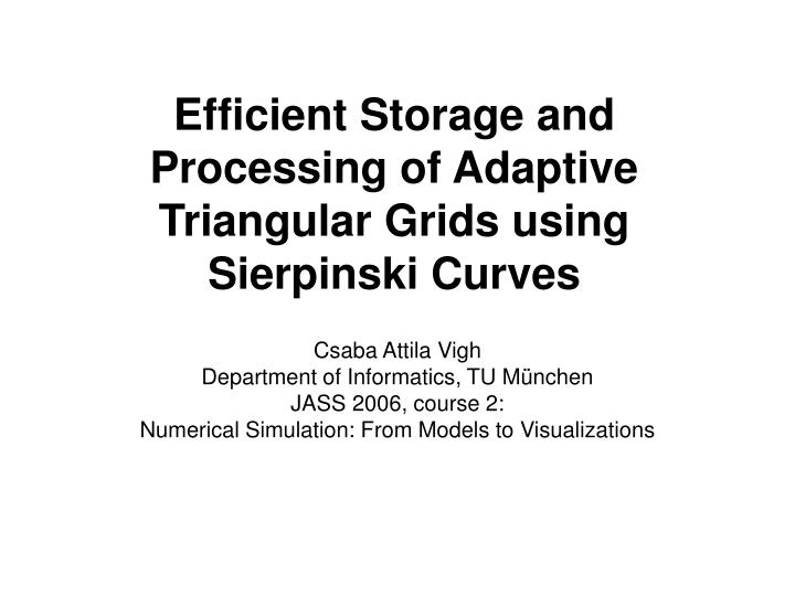 efficient storage and processing of adaptive triangular grids using sierpinski curves n.