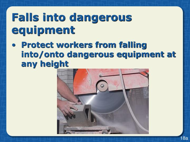 Falls into dangerous equipment