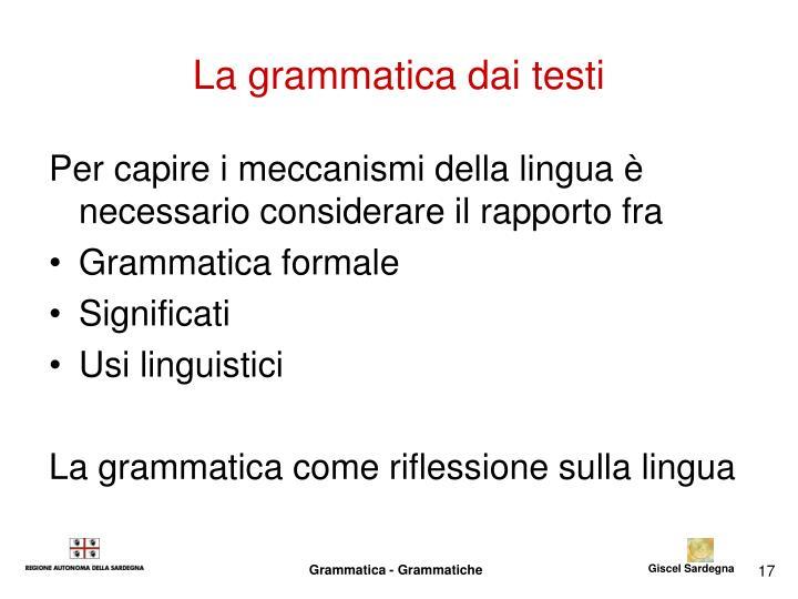 La grammatica dai testi