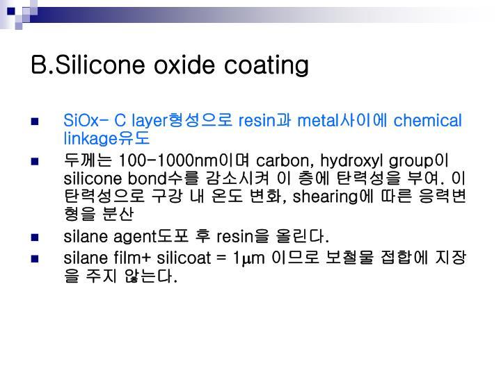 B.Silicone oxide coating