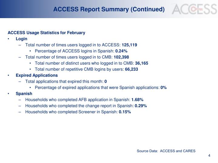 ACCESS Report Summary (Continued)