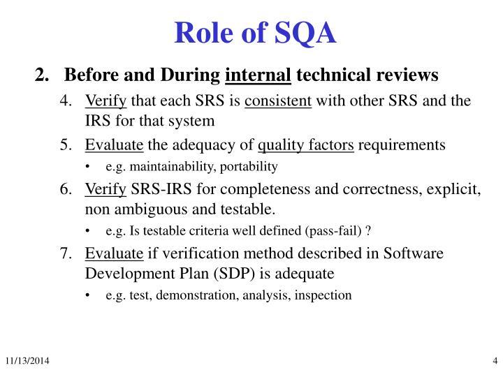 Role of SQA