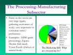 the processing manufacturing subsector1