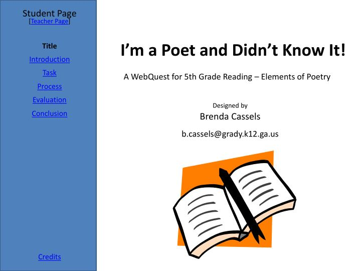 i m a poet and didn t know it