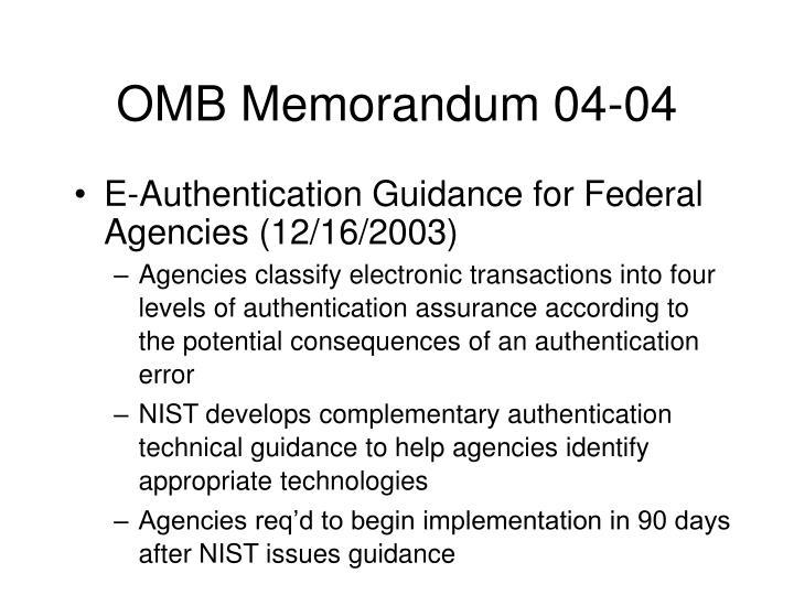 OMB Memorandum 04-04