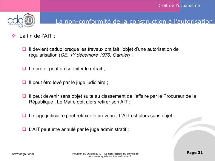 Ppt le non respect du permis de construire quelles for Autorisation de construction